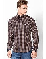 Brown Full Sleeve Small Checks Shirt