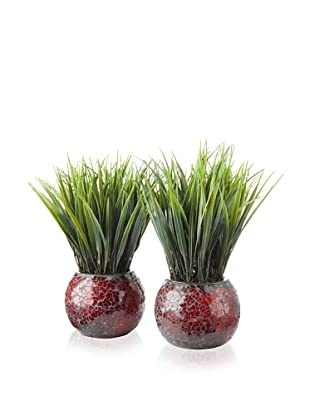Laura Ashley Set of 2 Grass Mosaic Containers (Red and Brown)