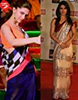 BOLLYWOOD REPLICA SAREES COMBO OFFER PRIYANKA CHOPRA SCREEN AWARDS BEIGE SAREE AND DEEPIKA PADUKONE BLUE LUNGI DANCE SAREE