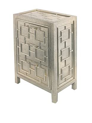 Bethel Silver 3-Drawer Bed Side Table, Silver