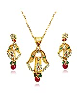 Surat Diamond Bell Shaped Red, Green and White Stone & Gold Plated Pendant with Chain & Earring Set for Women (SD12)
