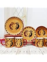 Kokopelli Collection Ceramic Hand-Painted 16-Piece Dinner Set, 83216 By ACK