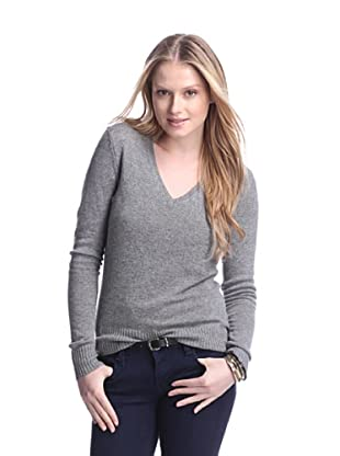 Cashmere Addiction Women's Long Sleeve V-Neck Sweater (Cloud)