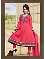 Cotton Embroidered Pink Anarkali Suit -FSQ552