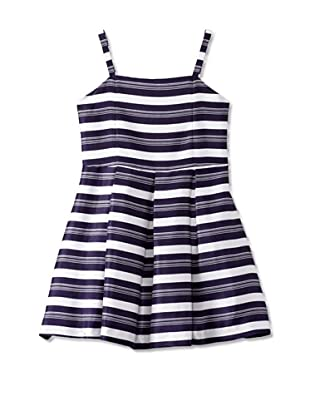 ABS Kids Girl's Shantung Dress with Straps (Navy/White)