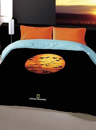 National Geographic Juego de Funda Nórdica Puesta Sol Patos (Negro / Naranja / Azul)