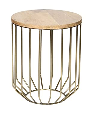 Prima Design Source Wire-Framed Accent Table with Tapered Base, Antique Brass