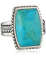 """Barse """"Basics"""" Genuine Turquoise Roped Ring, Size 8"""