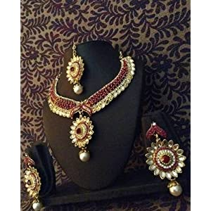 Necklace sets - Sparkling Kundan Style with Flowers Bridal Marriage India Rani Pink Necklace Set o104r