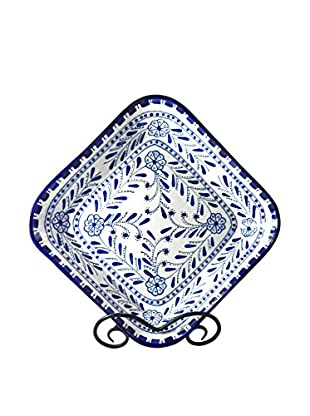 Le Souk Ceramique Azoura Square Serving Bowl, Blue/White