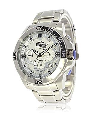Pit Lane Uhr mit Miyota Uhrwerk Pl-1010-2 silberfarben 45 mm