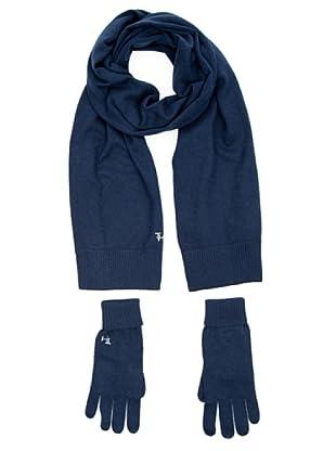 Tommy Hilfiger Bufanda + guantes (azul marino)