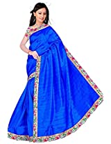 RoopSangam Plain Blue Color Chiffon Saree Lacy Border (Daily And Party Wear)