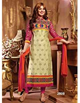 Rozdeal Womens Cotton Anarkali Unstitched Dress Material (Rda139-2809 _Cream)