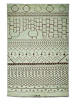Solo Rugs Moroccan Oriental Rug, Green, 6' x 9'