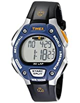 Timex Men's T5E931 Ironman Traditional 30-Lap Black/Silver-Tone/Blue Resin Strap Watch
