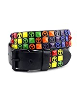 NYfashion101 Peace Sign Pyramid Stud Removable Roller Buckle Faux Leather Belt M
