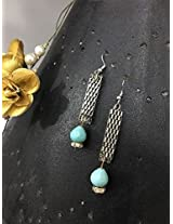 No Strings Attached aqua blue silver dangler earrings