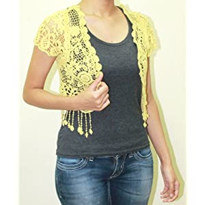 Yellow Floral Crochet Shrug With Tassels