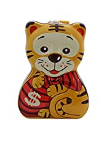 Tiger Cub Design Metal Kiddy Piggy Bank - Yellow - Coin Box, Money Safe for Kids