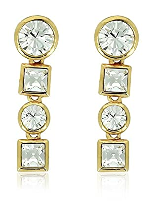 Art de France Pendientes Square Circle metal bañado en oro 24 ct