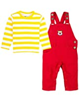 Infant Boys Full Sleeves Striper Tee with Dungaree Set, Multi Colour (0-6 Months)