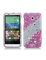 Aimo Wireless Luxury Full Diamond Case for HTC Desire 510 - Retail Packaging - Layer Pink