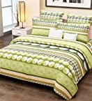Home Candy Floral Cotton Kids Double Bedsheet with 2 Pillow Covers - Green (CTN-BST-318)