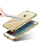 "KARP Selling First Time In India New ""Non Slippery & Anti Scratch"" Ultra-Thin Luxury Aluminum Metal Bumper Detachable + Mirror Tempered Glass Bumper Back Case For IPhone 6s [4.7''] (Gold)"