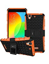 Heartly Flip Kick Stand Spider Hard Dual Rugged Armor Hybrid Bumper Back Case Cover For Micromax Yu Yureka / Yureka Plus Cyanogenmod - Mobile Orange