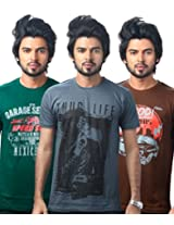 UK Tribes Men's Cotton Pack of 3 Multi-Color T-Shirt (X-Large)