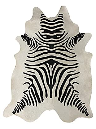 nuLOOM Hand Made Striped Cowhide Rug, White, 5' x 7'