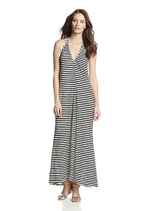 JOSA Tulum Women's Halter Maxi Dress (Black/White Stripe)