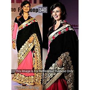 Divyanka Tripathi Pink And Black Designer Half And Half Saree