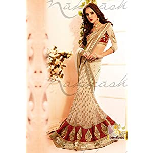 Majesty Cream and maroon Net Lehenga Choli