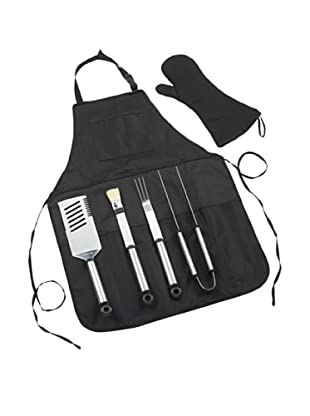 Picnic at Ascot B.B.Q-Chef's Barbecue Apron & Tools (Black)