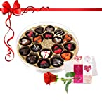 18pc Delight Love Chocolates with Red Rose and Card - Chocholik Belgium Chocolates