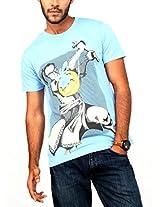 Paani Puri Men's Round Neck Cotton T-Shirt (M1618_Indigo_Small)