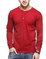 Gritstones Men's Button Front T-Shirt (GSFSHNLYMRN.1_Maroon_X-Large)
