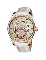 Burgi Cream Embossed Dial White Leather Ladies Watch - Bi073Wt