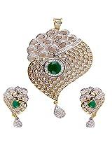 Affinity CZ Alluring Kundan Emerald Pendant Set