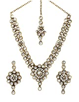 Scrunchh White and Gold Sun Kundan Stone Set