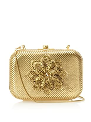 Whiting & Davis Women's Filigree Flower Minaudiere (Matte Gold)