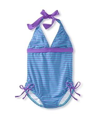 Splendid Girl's Malibu Stripe One Piece Swimsuit (Teal)