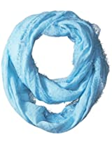 Betsey Johnson Women's Lace Border Loop Scarf, Sky, One Size