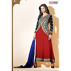 Sushmita Sen Georgette Embroidered Red Semi Stitched Bollywood Style Anarkali Suit - 11010