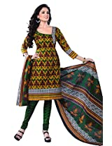 SGC Multi & Green Cotton Printed unstitched churidar kameez (SH-11616)