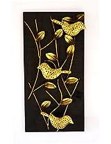 Handy Mandy Craft Wooden 3 Bird Tealight Holder cum Wall Hanging (29 cm x 9 cm x 57 cm, Metallic)