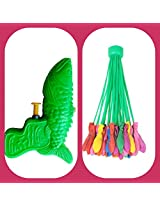 It'S Holi time MAGIC Balloons Waters (1 set of Magic Ballons with 37 balloons)+ 1 dragon pichkari (water gun) for your kids (Boys / Girls) is here! (color may vary) HOLI Magic Ballons TIME to play with Magic