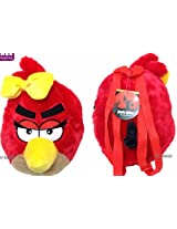 "ANGRY BIRDS RED GIRL BIRD PLUSH W/ BOW BACKPACK! 14"" SOFT ROUND DOLL"
